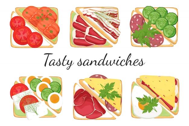 異なるフィリングのサンドイッチのセット