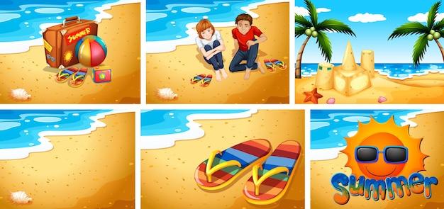 모래 해변 배경 세트
