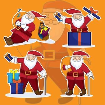 サンタクロースのキャラクター、手描きのフラットスタイルの漫画のデザインのセットです。