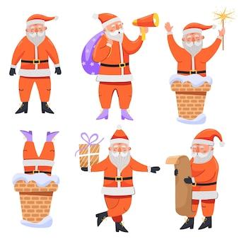 선물 자루 확성기 편지 향과 굴뚝 산타 클로스 캐릭터 세트