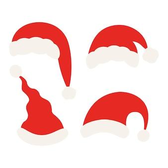 산타 클로스 크리스마스 모자 세트입니다. 산타의 빨간 모자 컬렉션
