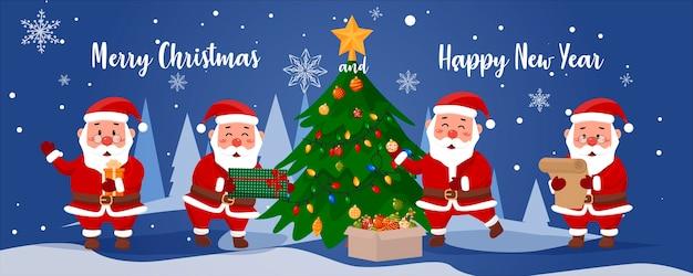青い冬の背景にクリスマスのサンタクロースのセット
