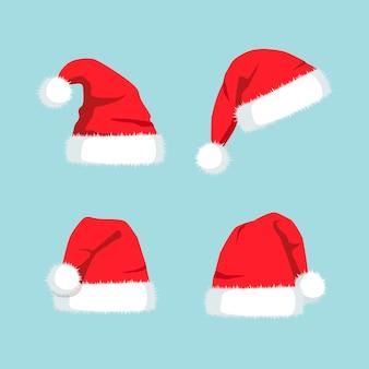 Набор шляпы санта-клауса. красная шапочка для празднования рождества.