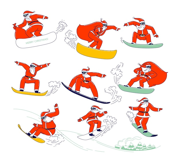 赤いお祭りの衣装でサンタクロースのセットは、スノーボードでスタントを実行します。ギフトバッグ付きのクリスマスキャラクタースノーボードスポーツアクティビティ、楽しさと休日の暇な時間。線形ベクトル図、アイコン