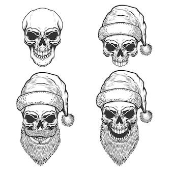 흰색 바탕에 산타 클로스 두개골의 집합입니다. 크리스마스 악몽. 로고, 라벨, 사인, 포스터, 티셔츠 요소. 삽화