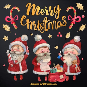 Set of santa claus watercolor characters with gifts