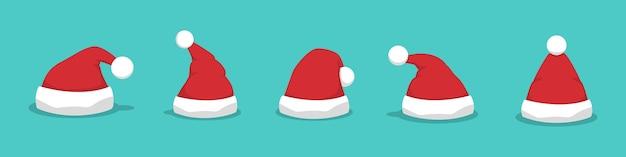 평면 디자인에 산타 모자 세트