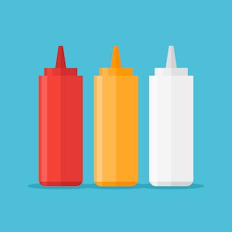 分離されたソースのボトルのセット。ケチャップ、マスタード、マヨネーズのイラスト。