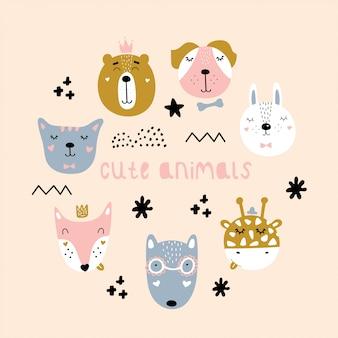 北欧のかわいい動物のセットです。フォックス、ウサギ、オオカミ、クマ、キリン、犬、猫。白い背景に分離されたベクトルの幼稚なイラスト。要素。保育園、子供服、ポスター、はがき用に印刷します。