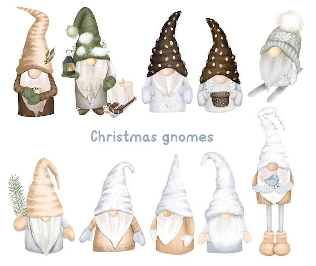 スカンジナビアの森のノームのセットクリスマス冬のノームクリップアート