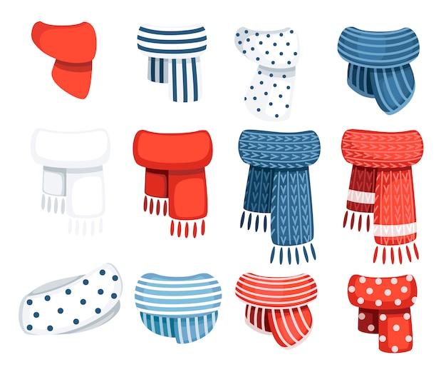 Комплект шарфов для мальчиков и девочек в холодную погоду. одежда в зимнем стиле. шарфы с разным рисунком. иллюстрация на белом фоне
