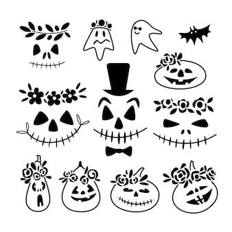 ハロウィーンのカボチャ、白い背景で隔離の幽霊の怖くて面白い顔のセット。ベクトル落書きの概要図。ウェブサイト、ハロウィーンフェスティバル、グリーティングカード、印刷物のデザイン