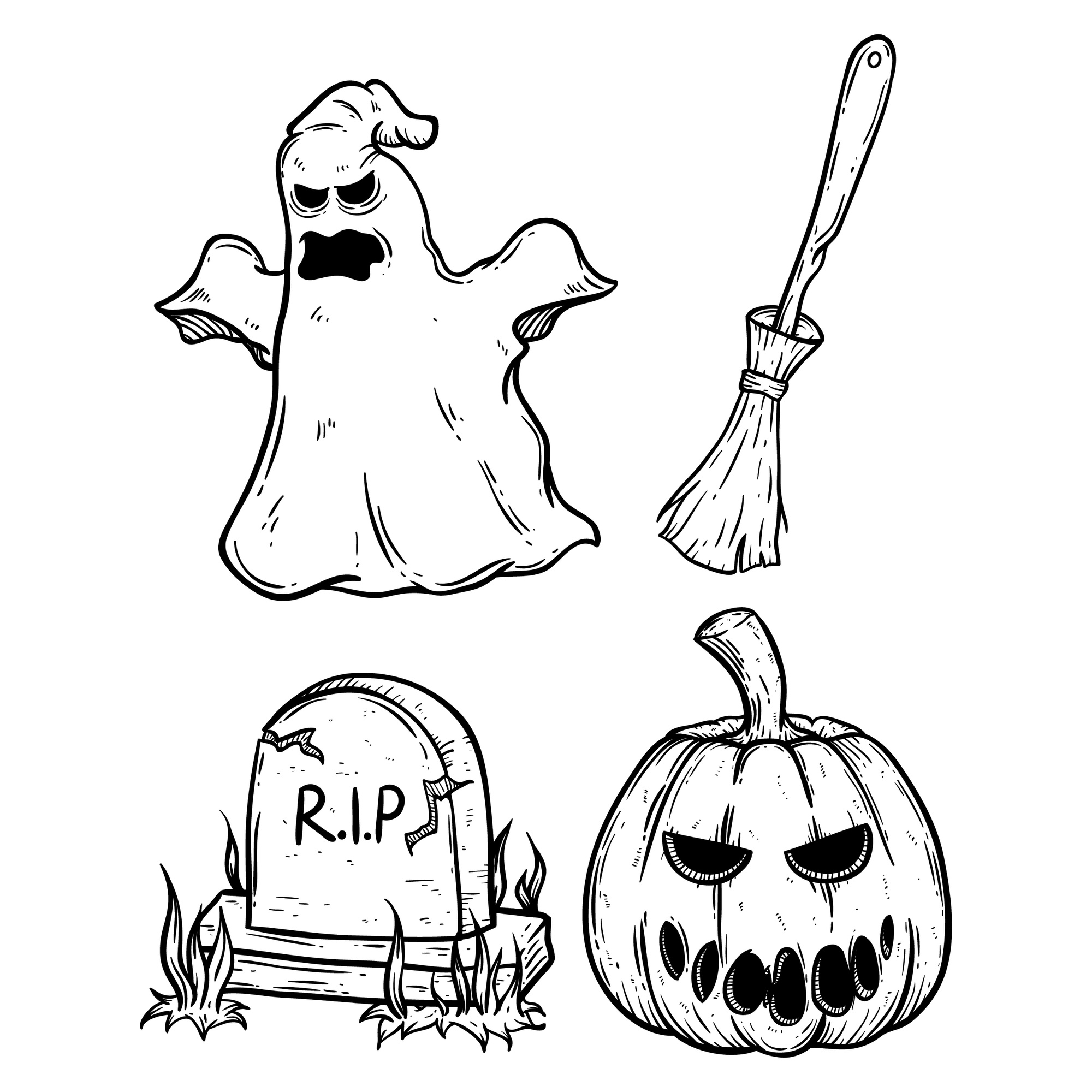 Set of scary halloween icons using doodle art or hand drawing style