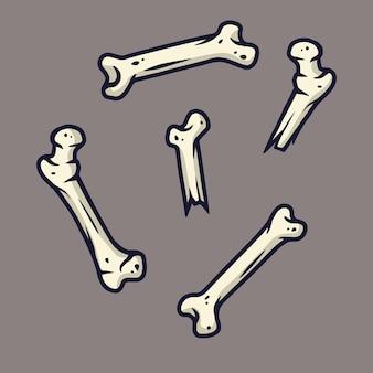 Набор страшных ужасных костей для дизайна праздника хэллоуина. октябрьская вечеринка баннер, плакат или открытка