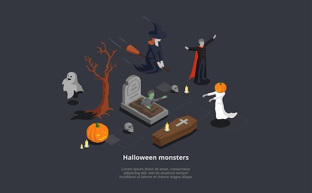 怖い等尺性ハロウィーンモンスターのセット。神秘的なキャラクターの魔女、吸血鬼、幽霊、ゾンビのベクトル3d構成。 loremipsumテキスト
