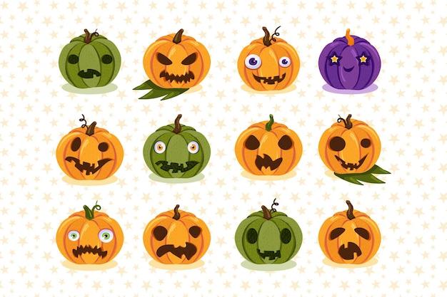 Набор страшных тыкв, символов праздника хеллоуина. красочные тыквы с забавными и жуткими лицами. мультяшная вечеринка или коллекция украшений поздравительных открыток. векторная иллюстрация
