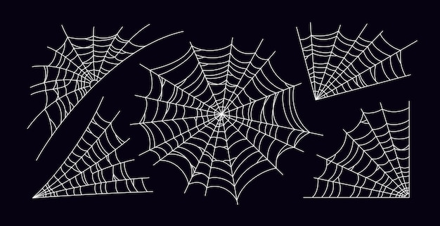 무서운 거미줄의 집합입니다. 검은 배경에 고립 된 흰색 거미줄 실루엣입니다. 할로윈 파티를 위해 손으로 그린 거미줄. 벡터 일러스트 레이 션