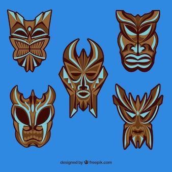 Набор страшных племенных тики-масок