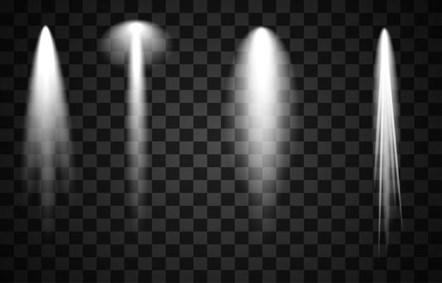 Набор освещения сцены коллекции, прозрачные эффекты. яркое освещение с точечными светильниками.