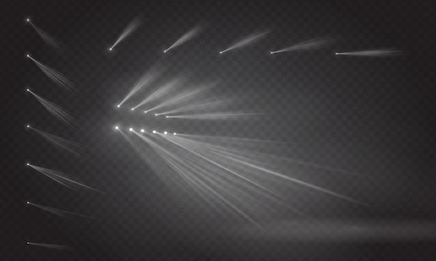 장면 조명 빛, 투명 플래시 조명 효과의 집합입니다. 밝은 금색 깜박임 및 스포트라이트가 포함 된 조명. 무대의 스팟 조명.