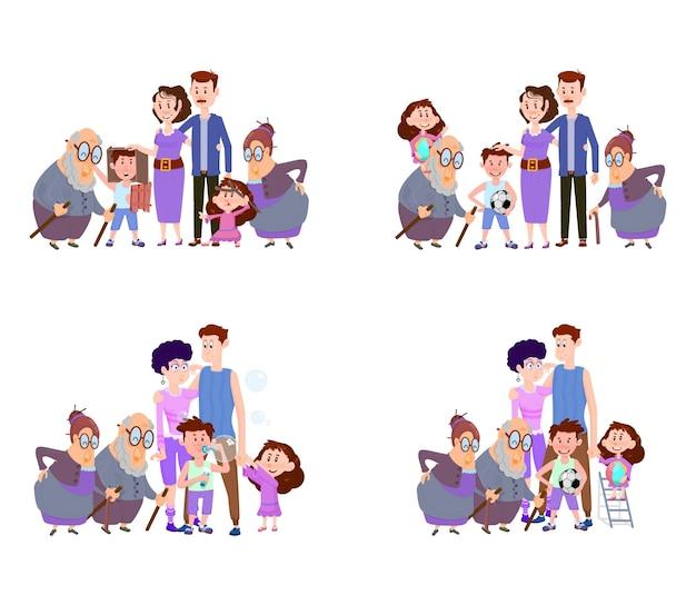 シーンのセット幸せな家族のお母さんお父さんと子供と祖父母フラットキャラクター