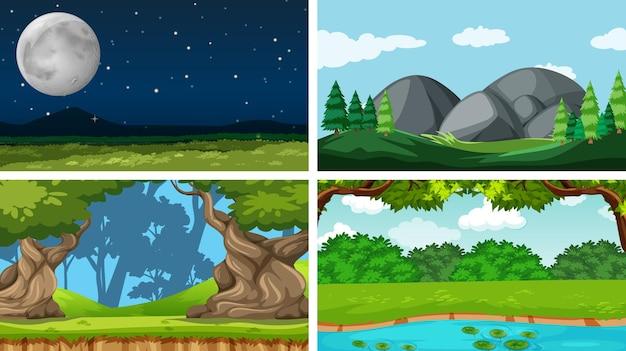 自然環境のシーンのセット
