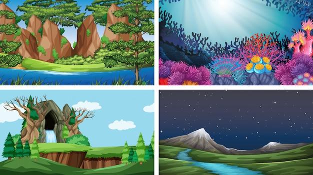 自然の中でのシーンのセット