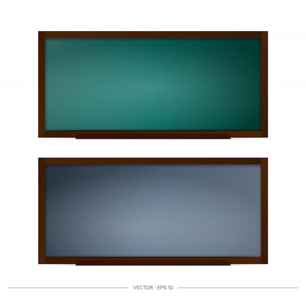 学校の黒板のセットです。黒と緑の背景を持つ黒板。学校やビジネスをテーマにデザインの要素。