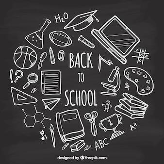 Set of school elements in blackboard style