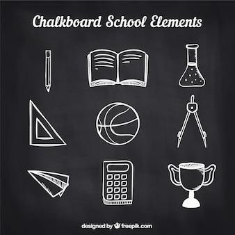 チョークボードスタイルの学校の要素のセット