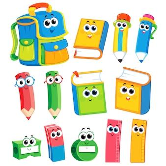 Набор школьных предметов. обратно в школу