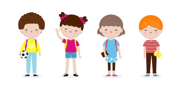 Набор школьников со школьными принадлежностями