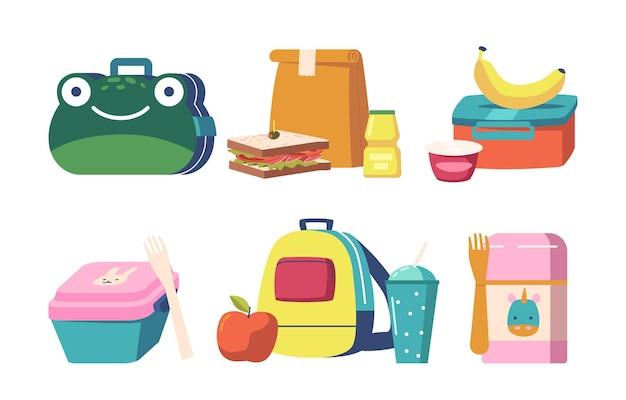 学校給食ボックスのセット、子供用コンテナに箱詰めされた食品、果物、または野菜を含む幼稚なデザインのランチボックスコレクション