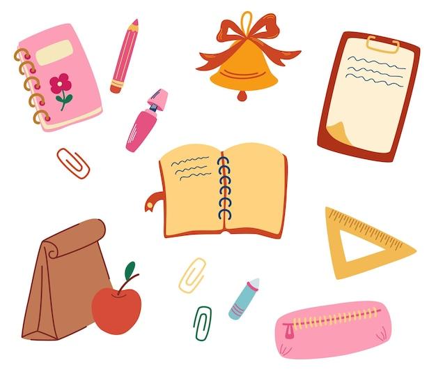 Набор школьных принадлежностей. обратно в школу. офисные принадлежности. колокольчик, карандаш, футляр, блокнот, маркеры, карандаши, бумага, скрепки, ланч-бокс. элементы для изучения. векторные иллюстрации в мультяшном стиле плоский
