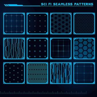 게임 ui에 좋은 공상 과학 현대 원활한 패턴 미래 추상 hud의 집합