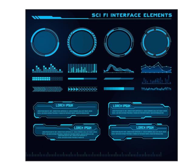 공상 과학 현대 사용자 인터페이스 요소 집합 미래 추상 hud 게임 ui에 적합