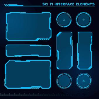 공상 과학 현대 사용자 인터페이스 요소 집합 미래 추상 Hud 게임 Ui에 적합 프리미엄 벡터