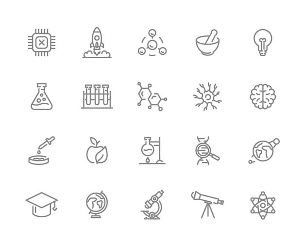 科学線アイコンのセット。チップ、ロケット、原子、ニューロン、脳など。