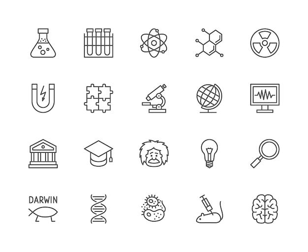 科学線アイコンのセット。スクールグローブ、教授、進化、dnaなど。