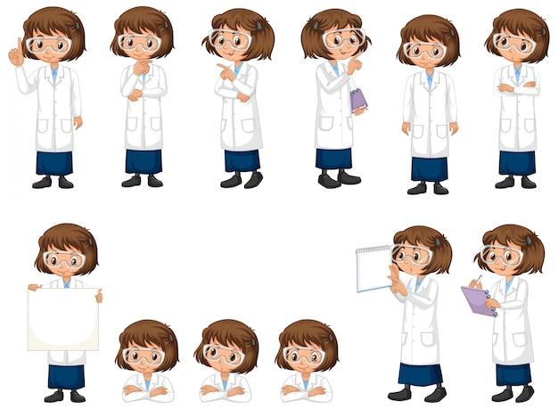 Набор науки студента в разных позах