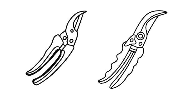 白で隔離されたはさみ-剪定はさみのセット。花や低木を扱うための園芸工具。落書きスタイルの手描きイラスト