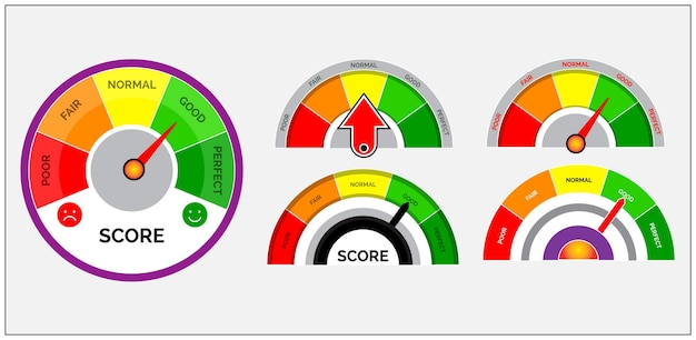 점수 표시기 또는 등급 측정기 수준 또는 게이지 속도계 표시기 개념 세트