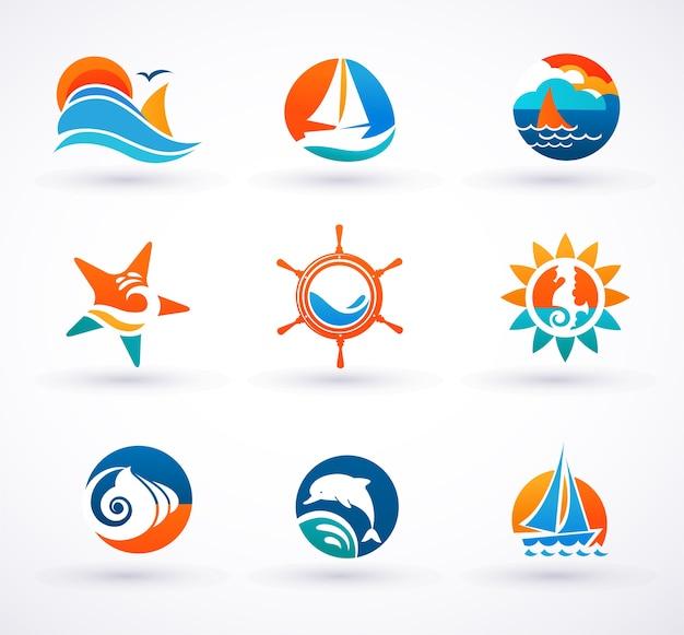 海と航海のロゴのアイソタイプのセット