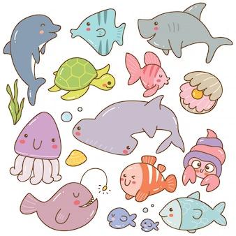 海の動物カワイイいたずら書きのセット
