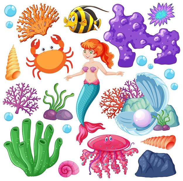 Набор морских животных и мультяшный персонаж русалки на белом