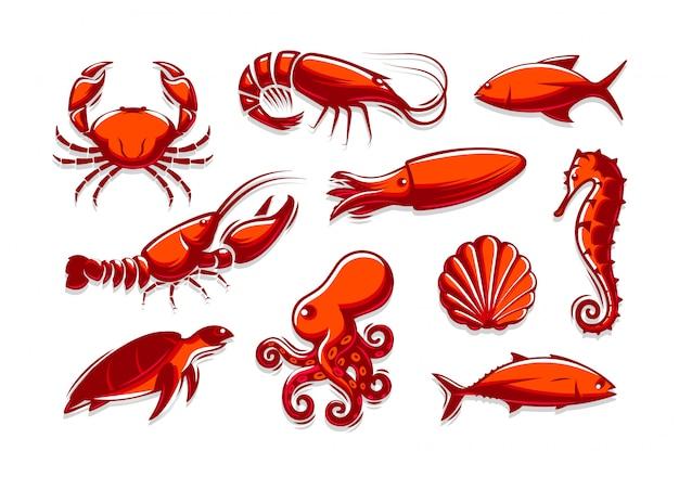 海の生き物のアイコンのセット。カニ、エビ、マグロ、イカ、ロブスター、タコ、貝、カメ、タツノオトシゴコレクション。