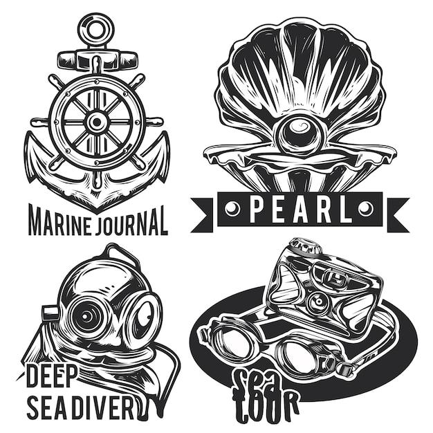 海のエンブレム、ラベル、バッジ、ロゴのセット。
