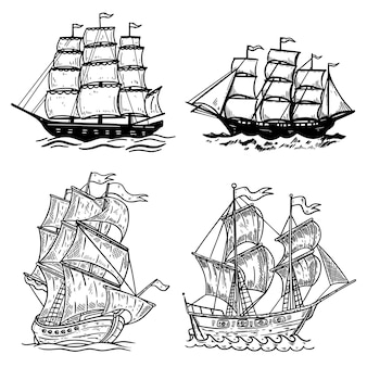 白い背景で隔離の海船イラストのセットです。ポスター、tシャツ、カード、エンブレム、記号、バッジ、ロゴのデザイン要素。