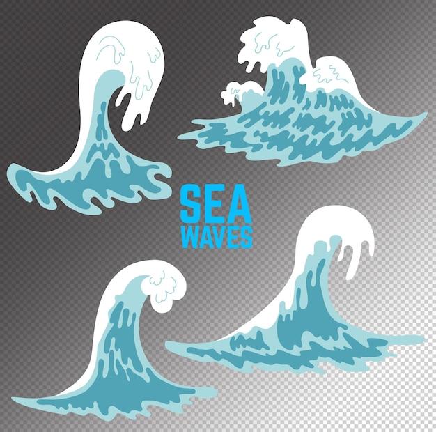 海の波のイラストのセットです。ポスター、カード、バナー、チラシ、エンブレムのデザイン要素。