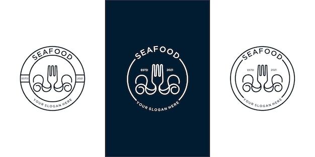 Набор логотипа морепродуктов с вилкой и кальмарами. премиум векторы